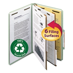 "Smead Pressboard Classification Folder, 2"" Exp., 2 Dividers, Legal, Gray/Green, 10/Box"