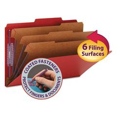 "3"" Expansion Folders with 2/5 Cut Tab, Legal, Eight-Section, Bright Red, 10/Box"