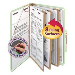 Pressboard Classification Folders, Legal, Eight-Section, Gray/Green, 10/Box