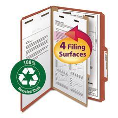 """Pressboard Classification Folder, 1 Divider, 2"""" Exp., 2/5 Cut, Legal, Red, 10/BX"""