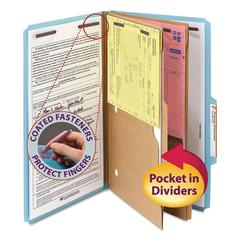 Pressboard Folders with Two Pocket Dividers, Legal, Six-Section, Blue, 10/Box
