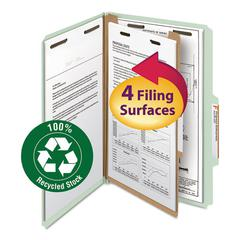 "Classification Folder, One Divider, 2"" Exp., 2/5 Cut, Legal, Gray/Green, 10/Box"