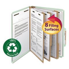 "Smead Pressboard Classification Folder, 3"" Exp., 6 Dividers, Letter, Gray/Green, 10/BX"