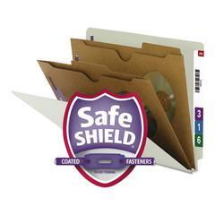 Pressboard End Tab Classification Folder, Pockets, Letter, Six-Section, 10/Box