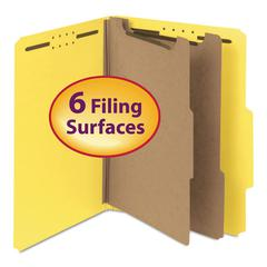 "Smead Pressboard Classification Folder, 2"" Exp., Two Dividers, Letter, Yellow, 10/Box"