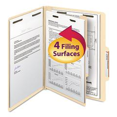 Manila Classification Folders with 2/5 Right Tab, Letter, Four-Section, 10/Box