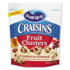 Ocean Spray Craisins Fruit Clusters, Cranberry Almond, 8 oz Bag, 12/Carton
