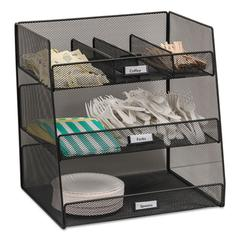 Onyx Breakroom Organizers, 3 Compartments,14.625x11.75x15, Steel Mesh, Black