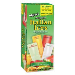Italian Ices Freezer Bars, Assorted Fruit Flavors, 2 oz, 16/Box, 8 Box/Carton