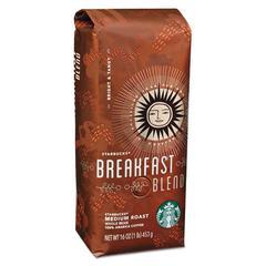 Whole Bean Coffee, Breakfast Blend, 1 lb Bag
