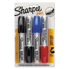 Sharpie King Size Markers, Chisel Tip, Blue/Red/Black, 4/Set