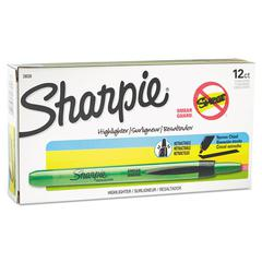 Sharpie Accent Retractable Highlighters, Chisel Tip, Fluorescent Green, Dozen
