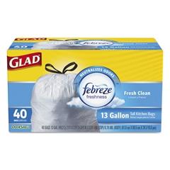 OdorShield Kitchen Drawstring Bags, Fresh Clean, 13 gal, White, 40/BX, 6 BX/CT