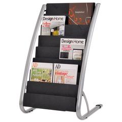 Alba Literature Floor Rack, 16 Pocket, 23 x 19 2/3 x 36 2/3, Silver Gray/Black