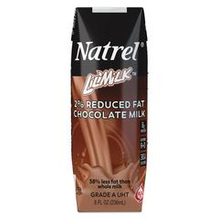 Natrel Milk, 2% Reduced Fat Chocolate Milk, 8 oz Tetra Pack, 18/Carton