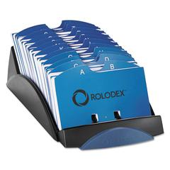 Rolodex VIP Open Tray Card File with 24 A-Z Guides Holds 500 2 1/4 x 4 Cards, Black