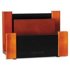 Rolodex Desktop Sorter, Wood/Faux Leather, 6 5/8 x 3 2/3 x 4 3/4, Black/Mahogany