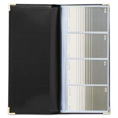 Stitched Faux Leather Business Card Book Holds 96 2 1/4 x 4 Cards, Black