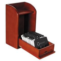 Rolodex Wood Tones Photo Frame Business Card File Holds 300 2 1/4 x 4 Cards, Mahogany