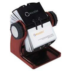 Rolodex Wood Tones Open Rotary Business Card File Holds 400 2 5/8 x 4 Cards, Mahogany
