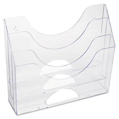 Three-Pocket File Folder Organizer, Plastic, 13 x 3 1/2 x 11 1/2, Clear