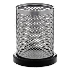 Rolodex Distinctions Pencil Cup, 3 1/2 dia. x 4 1/2, Metal/Black