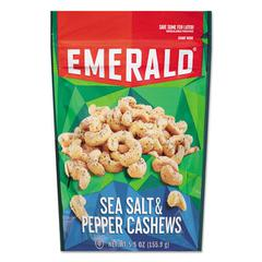 Emerald Sea Salt & Pepper Cashews, 5.5 oz Pack, 6/Carton