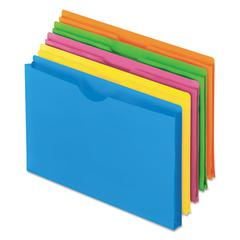 Glow Poly File Jacket, Letter, Polypropylene, Assorted, 5/Pack