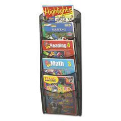 Onyx Mesh Literature Rack, Five Compartments, 10-1/4w x 3-1/2d x 28-1/3h, Black