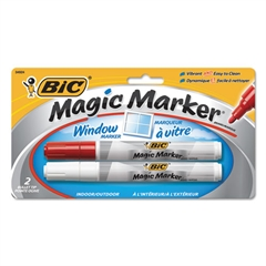 BIC Window Marker, Bullet, Red/White, 2/Pack