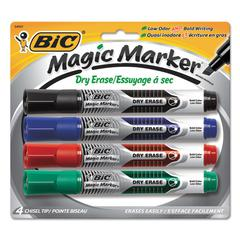 Low Odor and Bold Writing Dry Erase Marker, Chisel Tip, 4/Pack