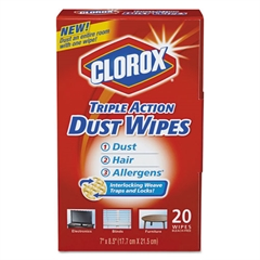Clorox Triple Action Dust Wipes, White, 8 1/2 x 7, 20/Box
