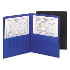 Poly Two-Pocket Folder w/Security Pocket, 11 x 8 1/2, Black, 5/Pack