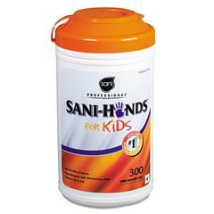 Hands Instant Sanitizing Wipes for Kids, 5 x 7 1/2, White, 300/Pk, 6 Pks/Ct