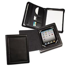 Samsill iPad Zipper Padfolio With Smart Magnetic Flap, Vinyl, Black