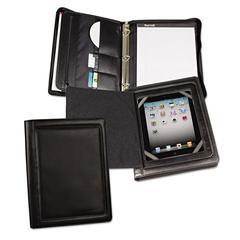 Samsill iPad Zipper Binder With Magnetic Flap, Vinyl, Black