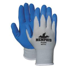 Flex Seamless Nylon Knit Gloves, Large, Blue/Gray, Pair