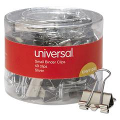 "Universal Small Binder Clips, 3/8"" Capacity, 3/4"" Wide, Silver, 40/Pack"