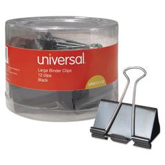 "Universal Large Binder Clips, 1"" Capacity, 2"" Wide, Black, 12/Pack"