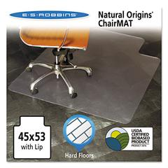 ES Robbins Natural Origins Chair Mat With Lip For Hard Floors, 45 x 53, Clear