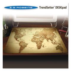 ES Robbins Trendsetter World Map Desk Pad, 24 x 19, Golden