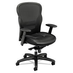 VL701 Series High-Back Swivel/Tilt Work Chair, Black Mesh/Leather