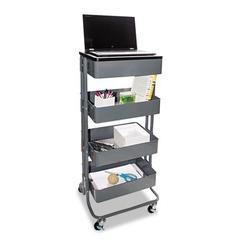 Multi-Use Storage Cart/Stand-Up Workstation, 13.9w x 11.75d x 18.5-39.5h, Gray