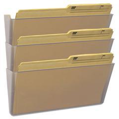 Wall File, Legal 16 x 14, Three Pocket, Clear