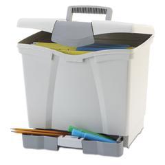 Portable File Storage Box w/Drawer, Letter, Latch, Black