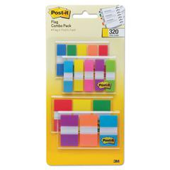 "1/2"" and 1"" Page Flag Value Pack, Nine Assorted Colors, 320/Pack"