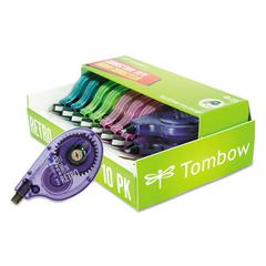 "Tombow MONO Original Correction Tape, Asst RetroColor Applicators, 1/6"" x 394"", 10/Pack"
