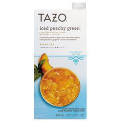 Tazo Iced Tea Concentrate, Iced Peachy Green, 32 oz Tetra Pak, 6/Carton