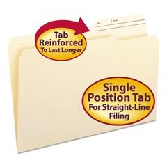 Guide Height Folder, 2/5 Cut Right, Printed Tab, Legal, Manila, 100/Box