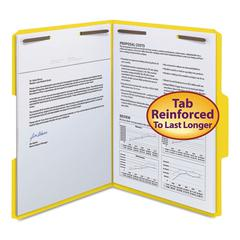 "Smead WaterShed/CutLess Folder, Top Tab, 2 Fasteners, 3/4"" Exp., Letter, Yellow, 50/BX"